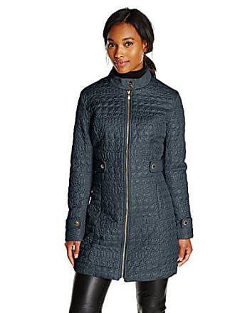 Via Spiga Womens Military Collar Lightweight Quilted Jacket, Navy, Small