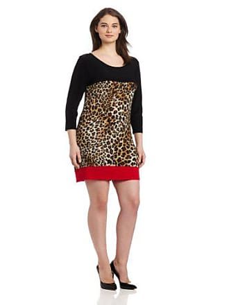 0e0ac636ea Star Vixen Womens Plus-Size 3/4 Sleeve Colorblock Dress, Black/Leopard