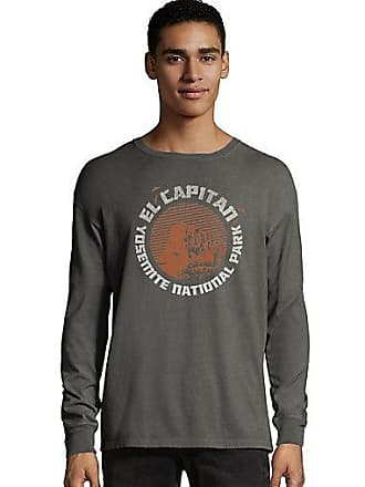 85a28390 Hanes Mens ComfortWash Yosemite El Capitan National Park Long Sleeve Tee  New Railroad 2XL