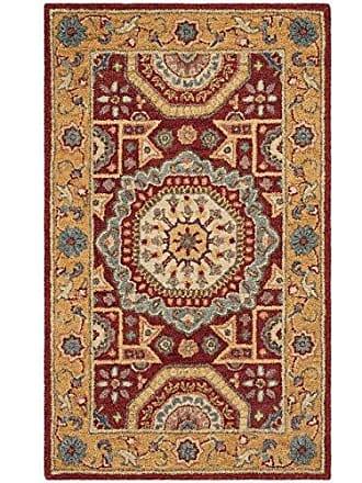 Safavieh AT501Q-3 Antiquity Collection Red and Orange Premium Wool Area Rug, 3 x 5