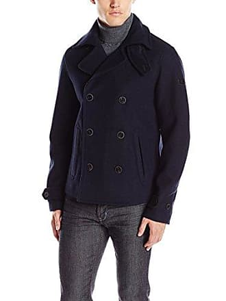A|X Armani Exchange Mens Woven Double Breasted Jacket, Navy, Large