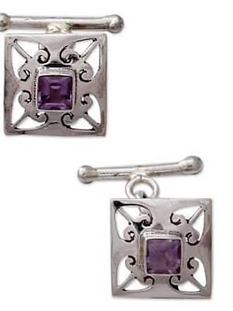 Novica Amethyst cufflinks, Love Quadrant - Amethyst and.925 Sterling Silver Square Jali Cufflinks