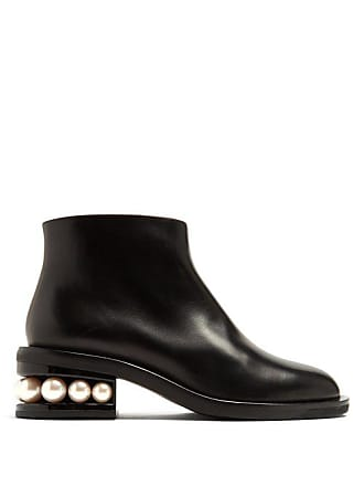 975963625adf Nicholas Kirkwood Casati Faux Pearl Heeled Leather Ankle Boots - Womens -  Black