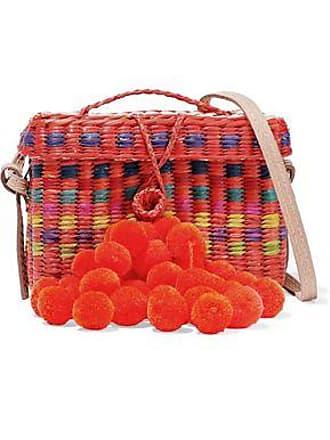 NANNACAY Nannacay Woman Baby Roge Pompom-embellished Woven Straw Shoulder Bag Bright Orange Size
