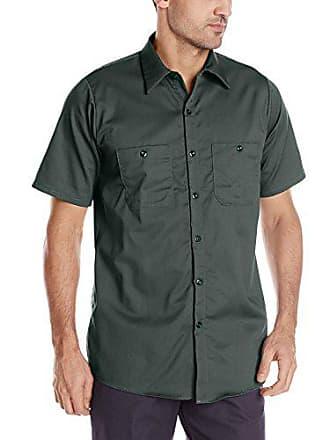 d6edf15d Red Kap Mens Enhanced Visibility Cotton Work Shirt, Spruce Green, Small