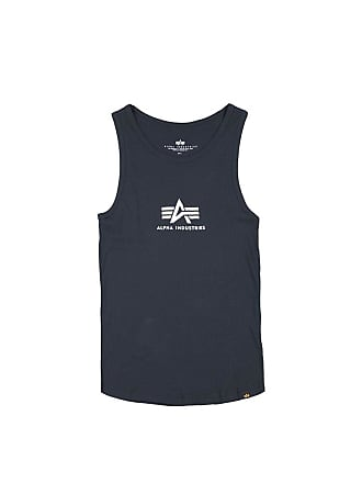 d128868718546 Alpha Industries Men Overwear Tank Tops Logo Blue L