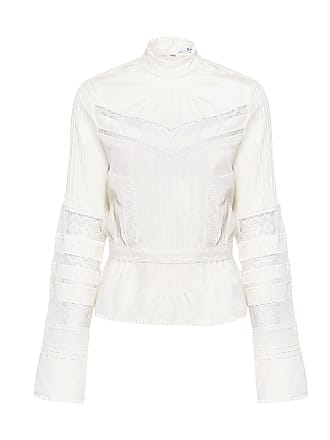 Derek Lam High Collar Silk Lace-Trim Blouse Soft White