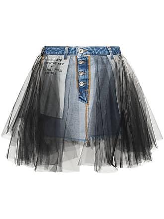 Unravel Denim and tulle mini-skirt - Blue
