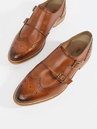 c3490488ded854 Asos Wide Fit monk shoes in tan leather with natural sole - Tan