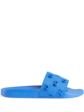 bea9b10d06d5 Gucci Mens rubber GG slide sandal - Blue