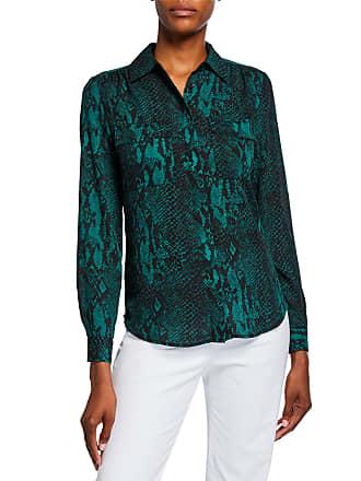 Neiman Marcus Animal-Print Long-Sleeve Blouse