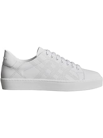 Burberry Perforated Check Leather Sneakers - White