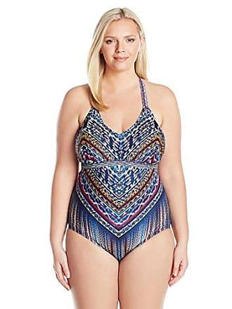 88b37762642 Jessica Simpson Womens Plus-Size Dusty Road Denim-Inspired Halter Keyhole One  Piece Swimsuit