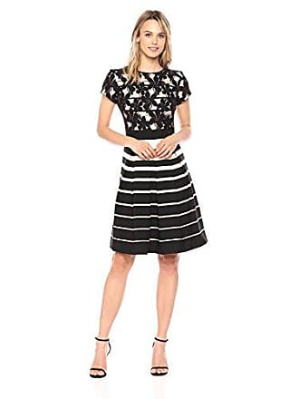 c5bdbc69025 Gabby Skye Womens Stripe Fit and Flare Dress with Lace Bodice