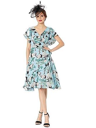 Unique Vintage 1940s Crane Print Luella Wrap Dress (Light Blue/White) Womens Dress