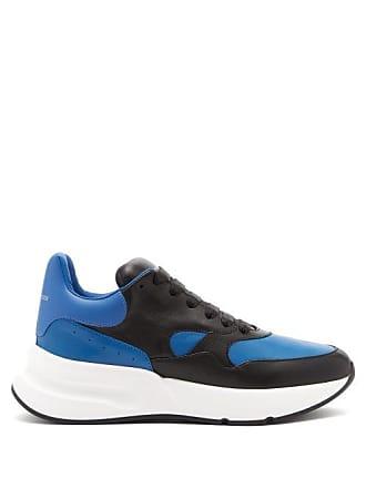 Alexander McQueen Alexander Mcqueen - Runner Raised Sole Low Top Leather Trainers - Mens - Black Blue