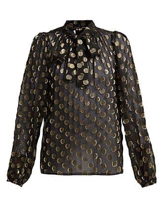 9cd9670d Dolce & Gabbana Polka Dot Fil Coupé Silk Blend Blouse - Womens - Black Gold