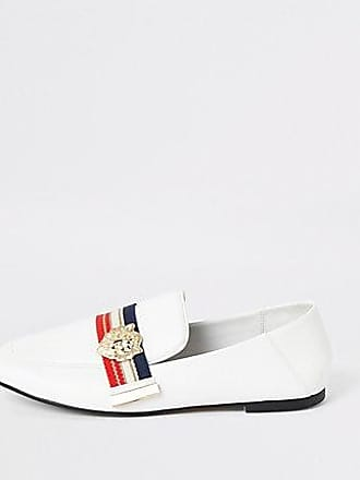 River Island Womens White tape loafers