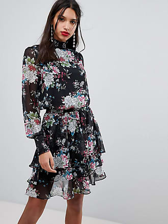 Y.A.S high neck bold floral mini dress - Multi