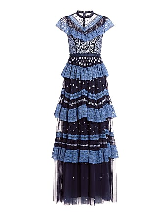 Needle & Thread Astra Ruffled Floral Embroidered Tulle Maxi Dress Navy
