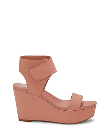 Vince Camuto Womens Velista Platform Wedges Rose Bud Size 4 Leather From Sole Society
