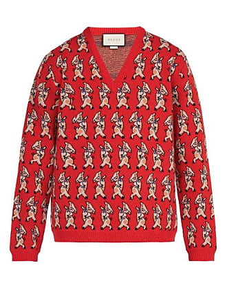 addcf35c2 Gucci Pig Instarsia V Neck Wool Sweater - Mens - Red