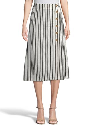 5twelve Striped Midi Skirt with Button Detail