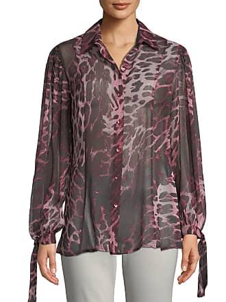 Neiman Marcus Tie-Sleeve Animal-Print Button-Front Blouse
