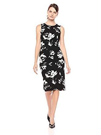 Ivanka Trump Womens Denim Starburst Dress, Black/Ivory, 4