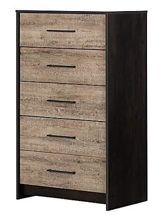 South Shore Furniture 12228 Londen, Weathered Oak and Ebony 5-Drawer Chest