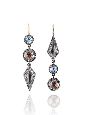 f35bfb46d6d Larkspur & Hawk Sadie Mismatched Three-Drop Earrings in Riverstone Foil