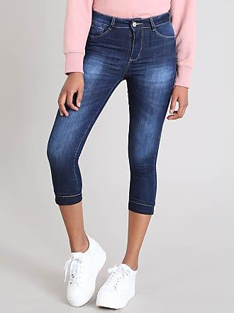 Sawary Calça Jeans Feminina Sawary Cigarrete com Lurex Azul Escuro