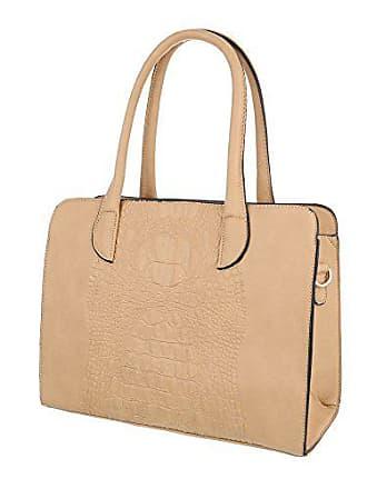 075483acf89ed Ital-Design Damen-Tasche Mittelgroße Schultertasche Handtasche Kunstleder  Apricot TA-K83