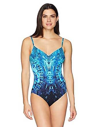 29676a108fbaf Gottex Womens Thin Strap V-Neck One Piece Swimsuit, Emerald Isle Multi Blue-