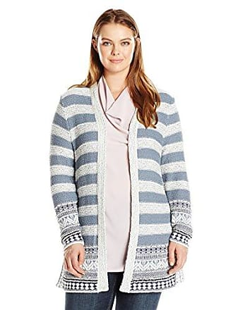 Lucky Brand Womens Plus Size Geo Border Cardigan Sweater, Blue Multi, 1X