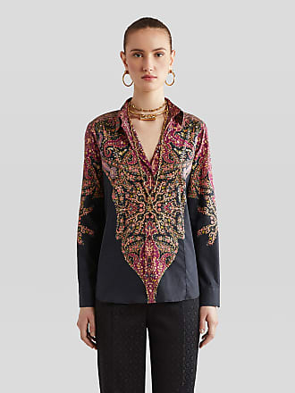Etro Cotton Shirt With Paisley Decorations, Woman, Burgundy, Size 38