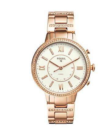 Zales Ladies Fossil Q Virginia Crystal Accent Rose-Tone Hybrid Smart Watch with White Dial (Model: Ftw5010)