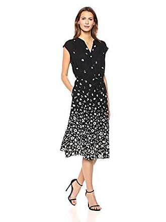 Anne Klein Womens Cap Sleeve Drawstring MIDI Dress, Black/White, M