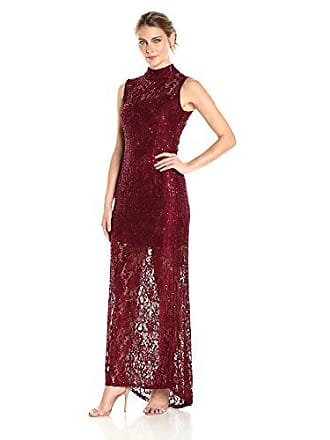 Marina Rossini Womens Long Mock Neck Gown with Illusion Sequin Lace, Burgundy 12