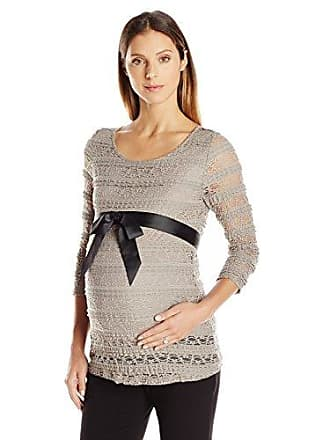 0d6b6fbcbe Three Seasons Maternity Womens Maternity 3 4 Sleeve Belted Lace Top