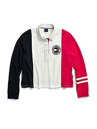 7f17c8e214e8 Tommy Hilfiger Womens Adaptive Long Sleeve Polo with Magnetic Buttons,  White/Navy/Pink