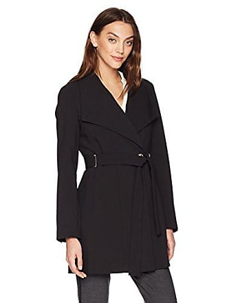 2fcb5017350ad Calvin Klein Womens Long Jacket Soft Doubleweave Fabric with Removable Belt