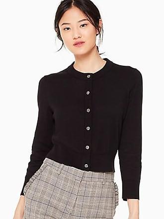 Kate Spade New York Jewel Button Cropped Cardigan, Black - Size XL