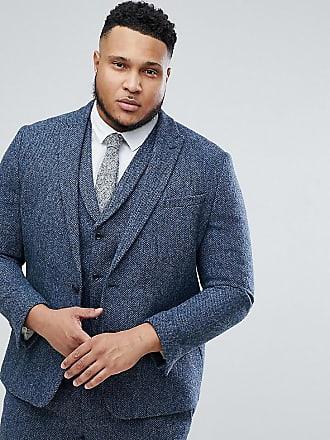 Asos Chaqueta de traje slim de 100% lana y tweed Harris azul de cuadros  pequeños 6afb4618723