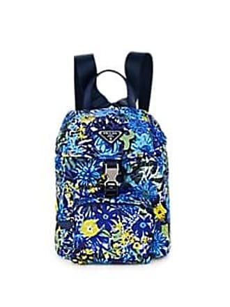 17e56794851c32 Prada Womens Leather-Trimmed Floral Backpack - Bluette dis. primule/Bluette  dis.