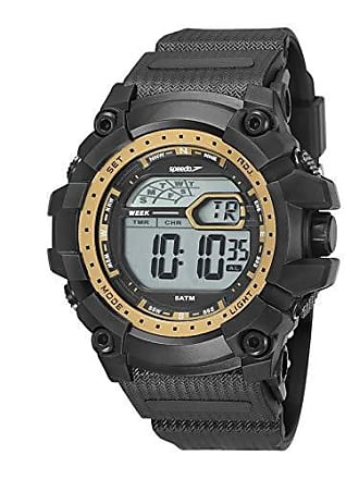 Speedo Relógio digital Speedo masculino Big Case prova dágua Preto/amarelo