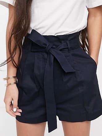 Asos Shorts van linnen met plooirand en riem-Marineblauw