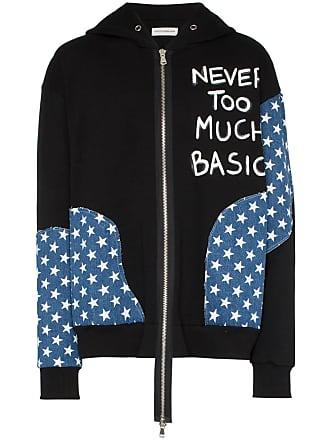 Faith Connexion star patch printed cotton hoodie - Black