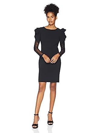 d95df939baa9 Betsey Johnson Juniors Scuba Crepe Dress with Lace Sleeves, Black 12