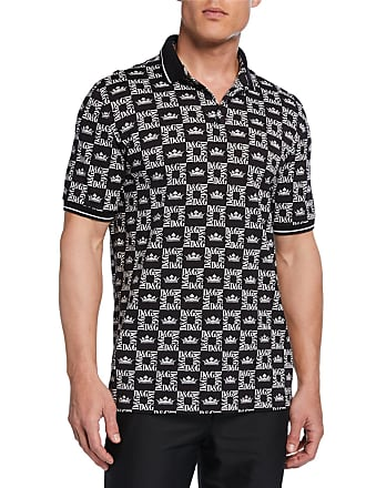 Dolce & Gabbana Mens Graphic Logo-Pattern Polo Shirt